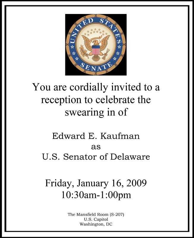 Invitation to Senator Ted Kaufman's swearing-in reception, 2009 January 16