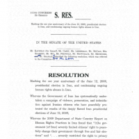 Thumbnail: Excerpt from a resolution marking the one year anniversary of the June 12, 2009, presidential election in Iran, and condemning ongoing human rights abuses in Iran, S. Res. 551, 111th Congress, 2010 June