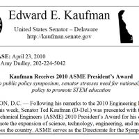 Thumbnail: ASME President's Award press release, 2010 April 23