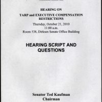 Thumbnail: Cover page for 'Hearing on TARP and Executive Compensation Restrictions,' 2010 October 21