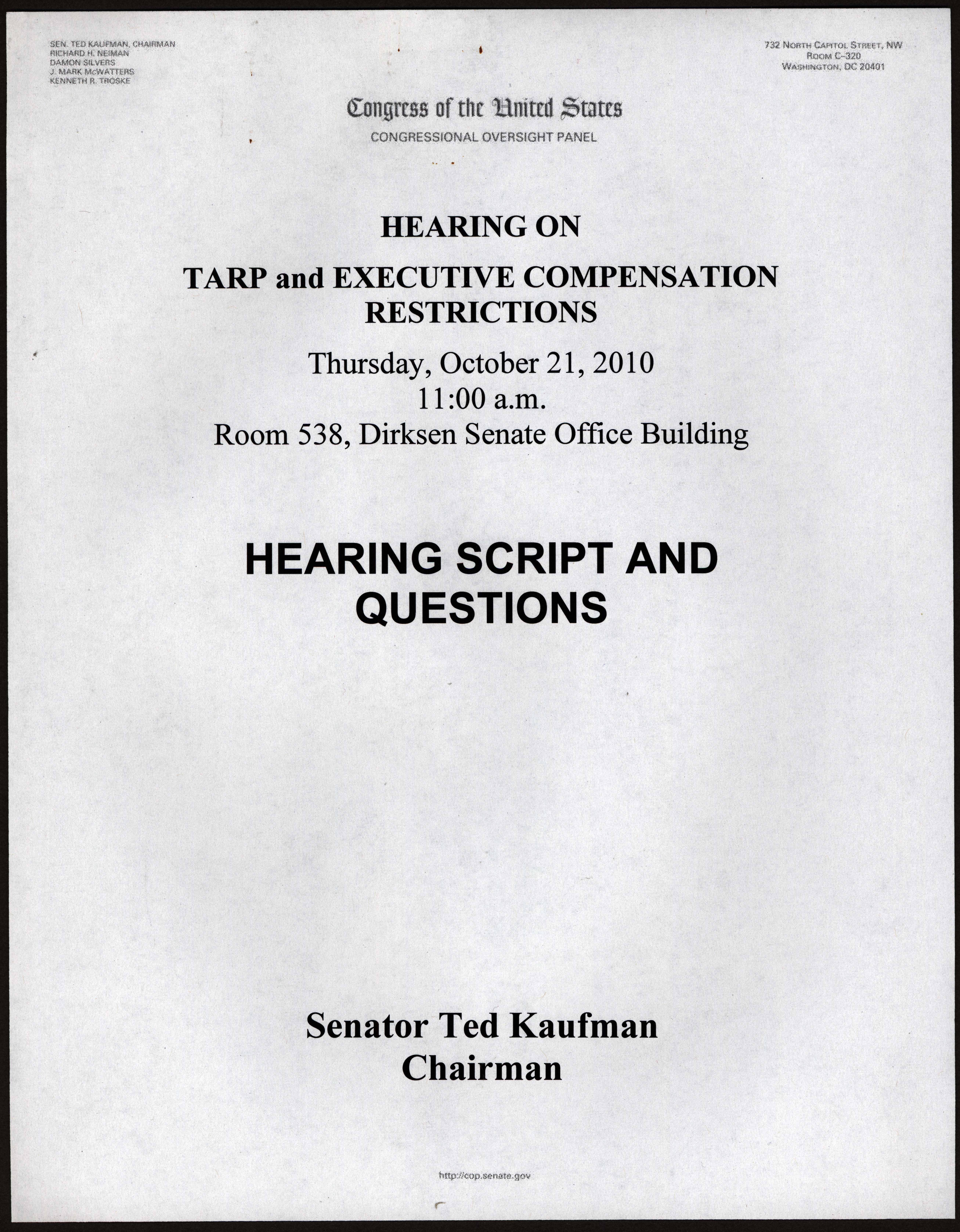 Cover page for 'Hearing on TARP and Executive Compensation Restrictions,' 2010 October 21