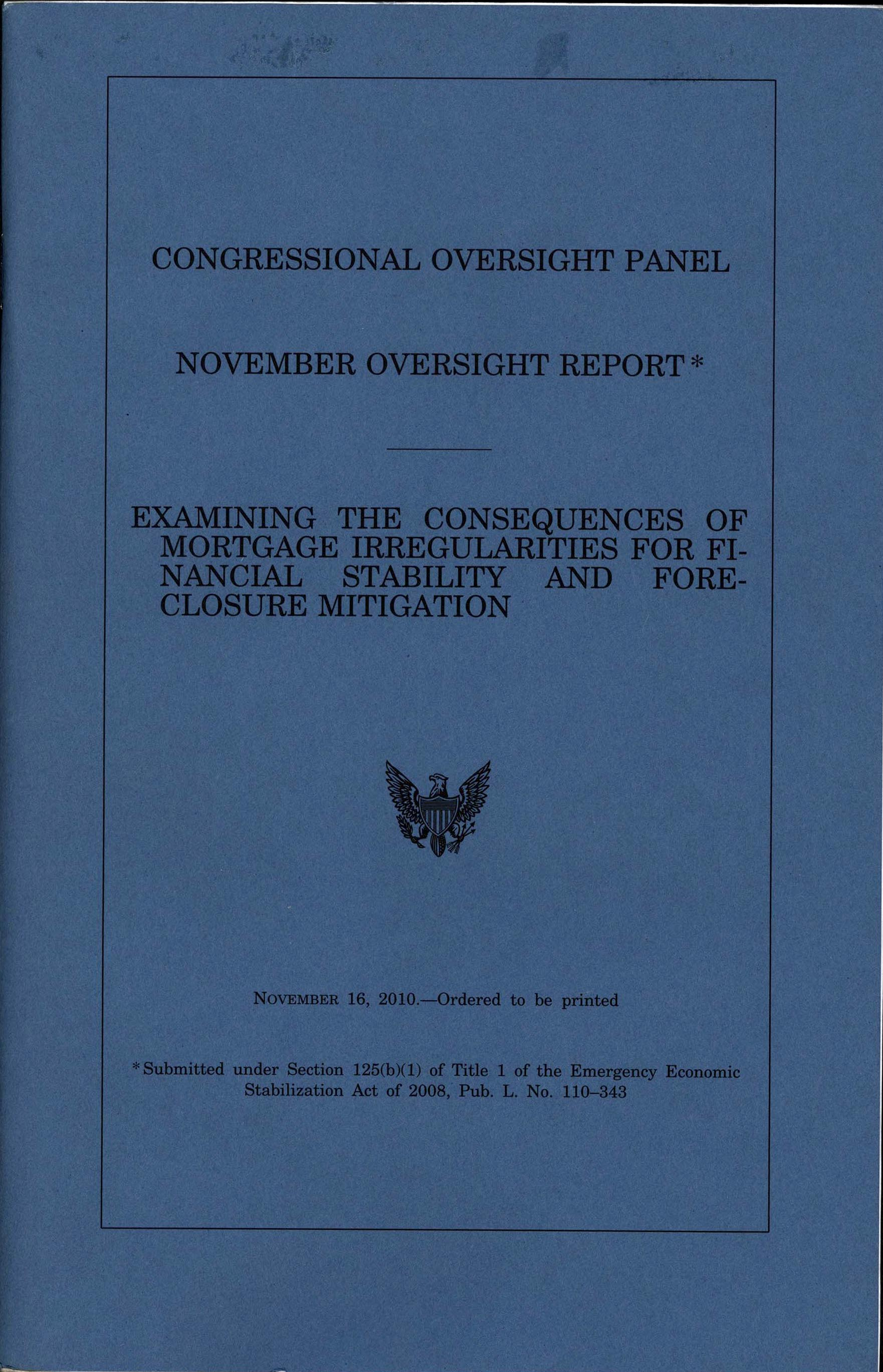 Cover page of 'November Oversight Report,' 2010 November