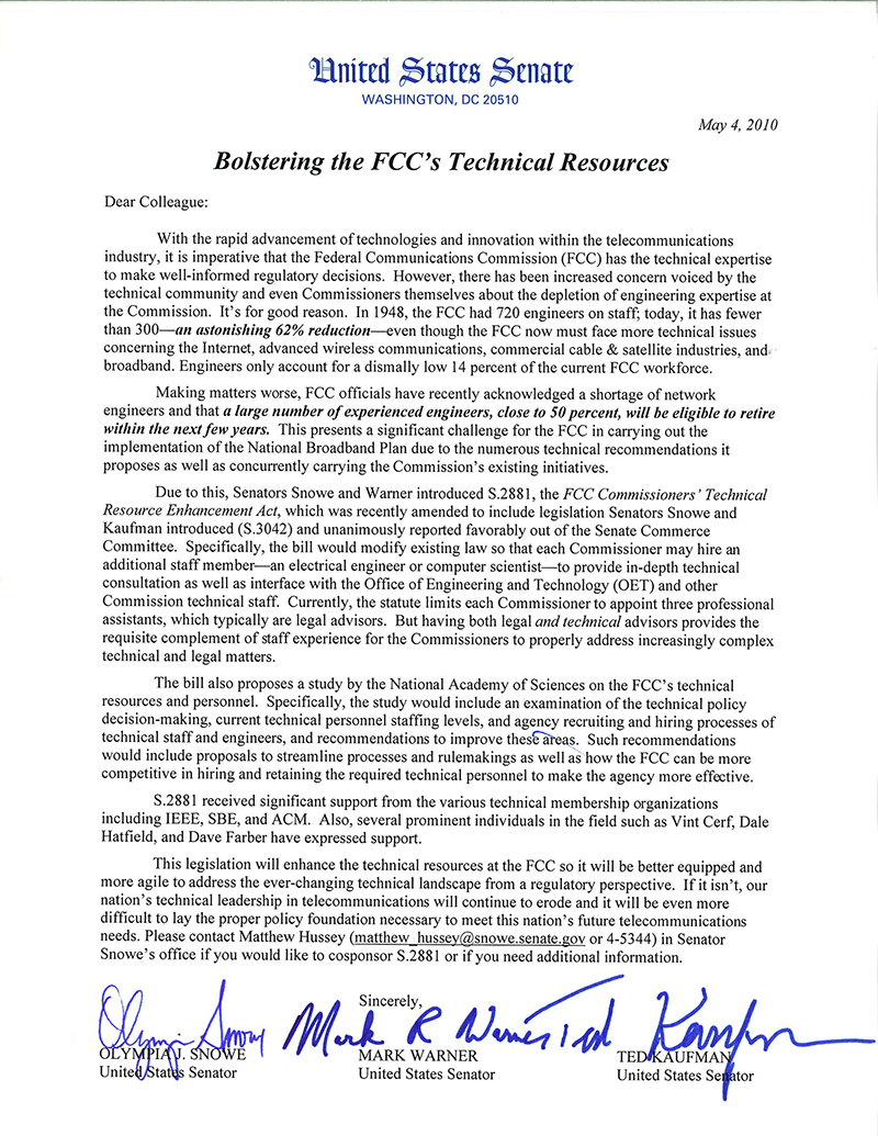 Excerpt from FCC Technical Study Act 'Dear Colleague' letter, 2010 May 4