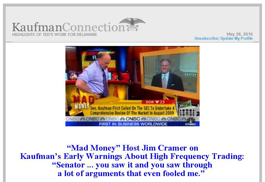 """Excerpt from """"Mad Money,"""" Kaufman Connection, 2010 May 26"""