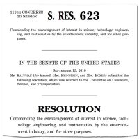 Thumbnail: Excerpt from Senate Resolution 623, 2010 September 15