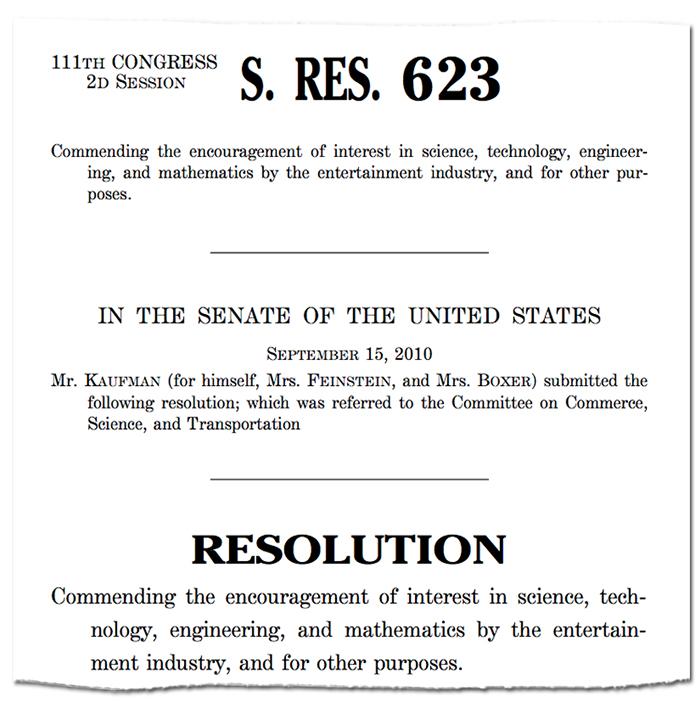Excerpt from Senate Resolution 623, 2010 September 15