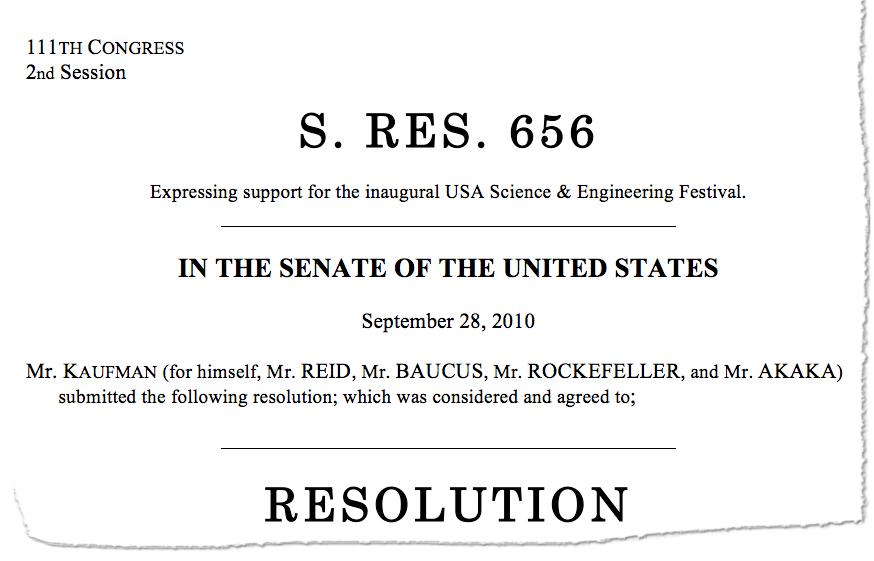 Excerpt from Senate Resolution 656, 2010 September 28