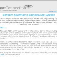 Thumbnail: Excerpt from Senator Kaufman's Engineering Update newsletter, 2009 July 22