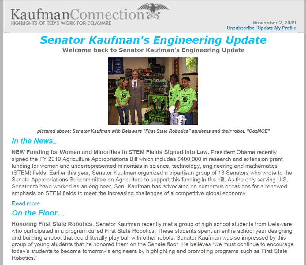 Excerpt from Senator Kaufman's Engineering Update newsletter, 2009 November 2