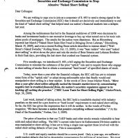 Thumbnail: Excerpt from abusive short selling 'Dear Colleague' letter, 2009 October