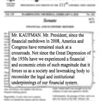 Thumbnail: Excerpt from financial and economic reform statement, Congressional Record, 2010 February 4