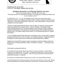 Thumbnail: 'Kaufman Demands Level Playing Field for Investigators' press release, 2009 July 28