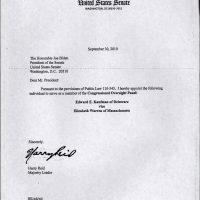 Thumbnail: Letter from Senate Majority Leader Harry Reid, 2010 September 30