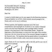 Thumbnail: Letter from Senator Christopher J. Dodd, 2010 May 27