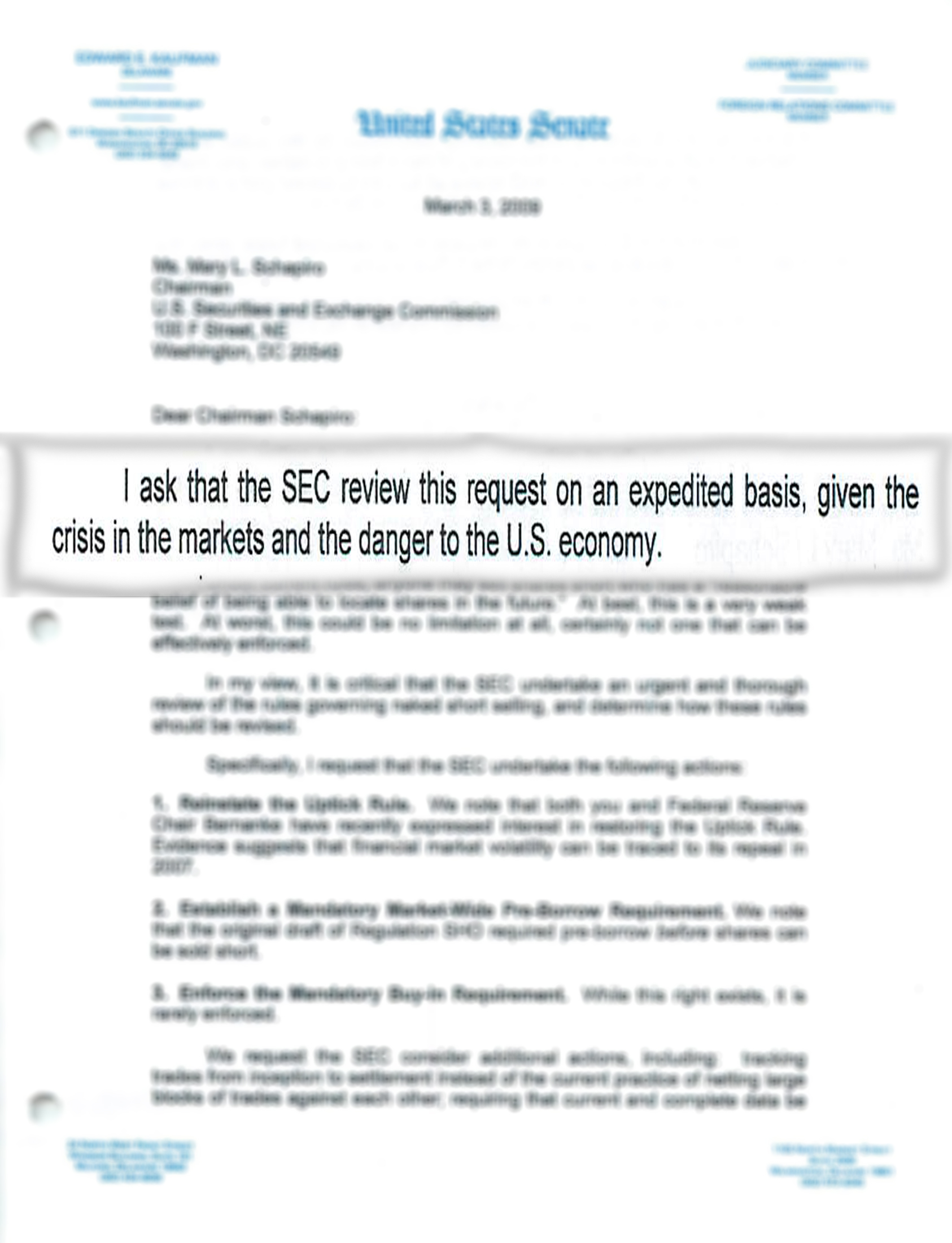 Letter to SEC Chairman Mary Schapiro, 2009 March 3