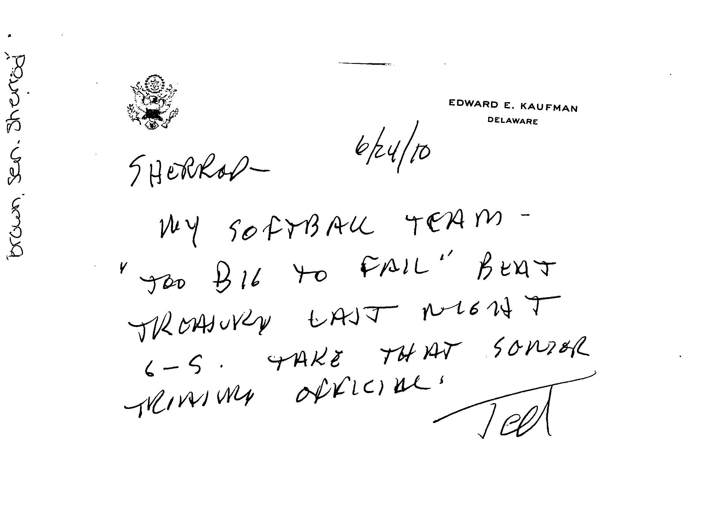 Letter to Senator Sherrod Brown, 2010 June 24