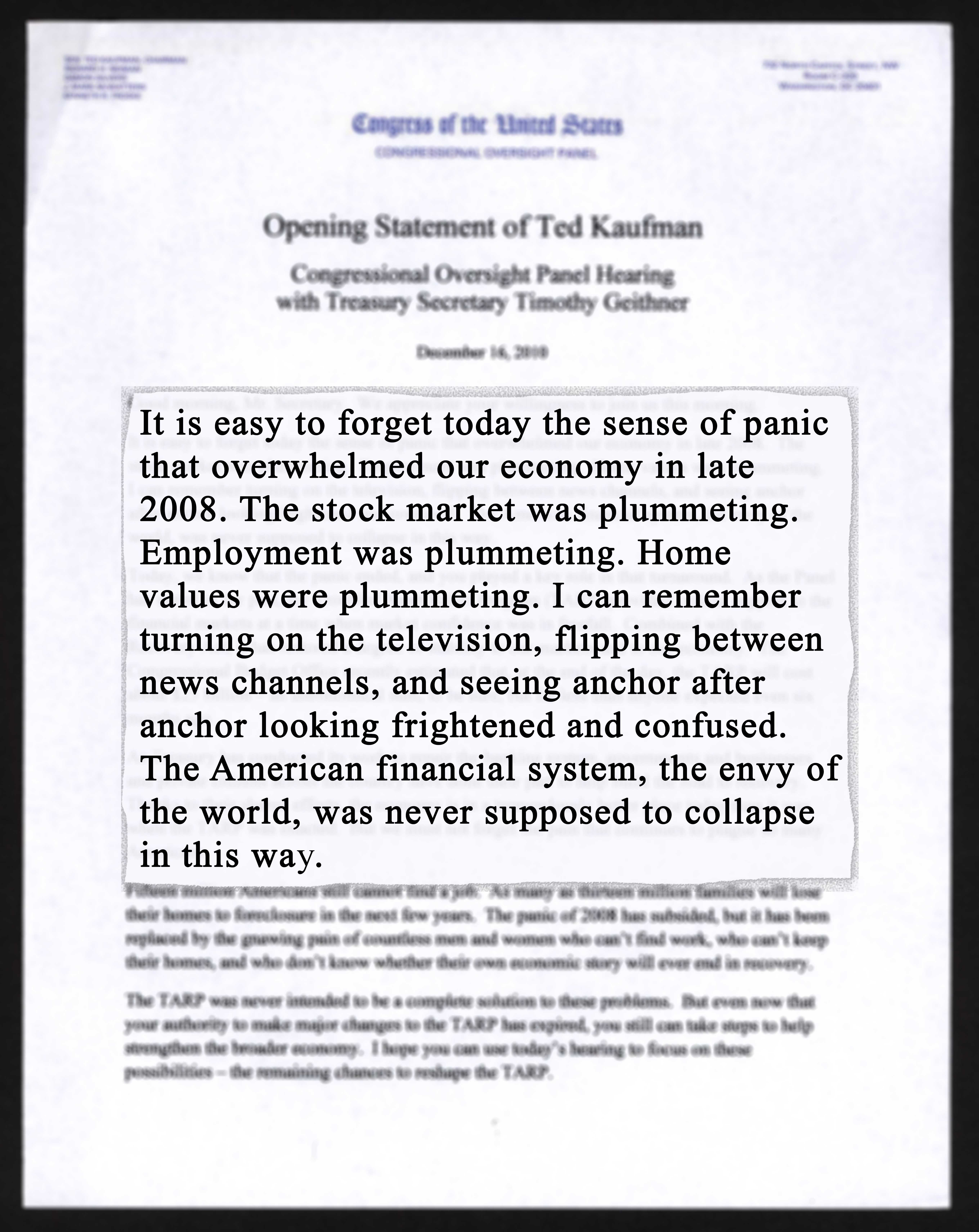 'Opening Statement of Ted Kaufman,' 2010 December 16