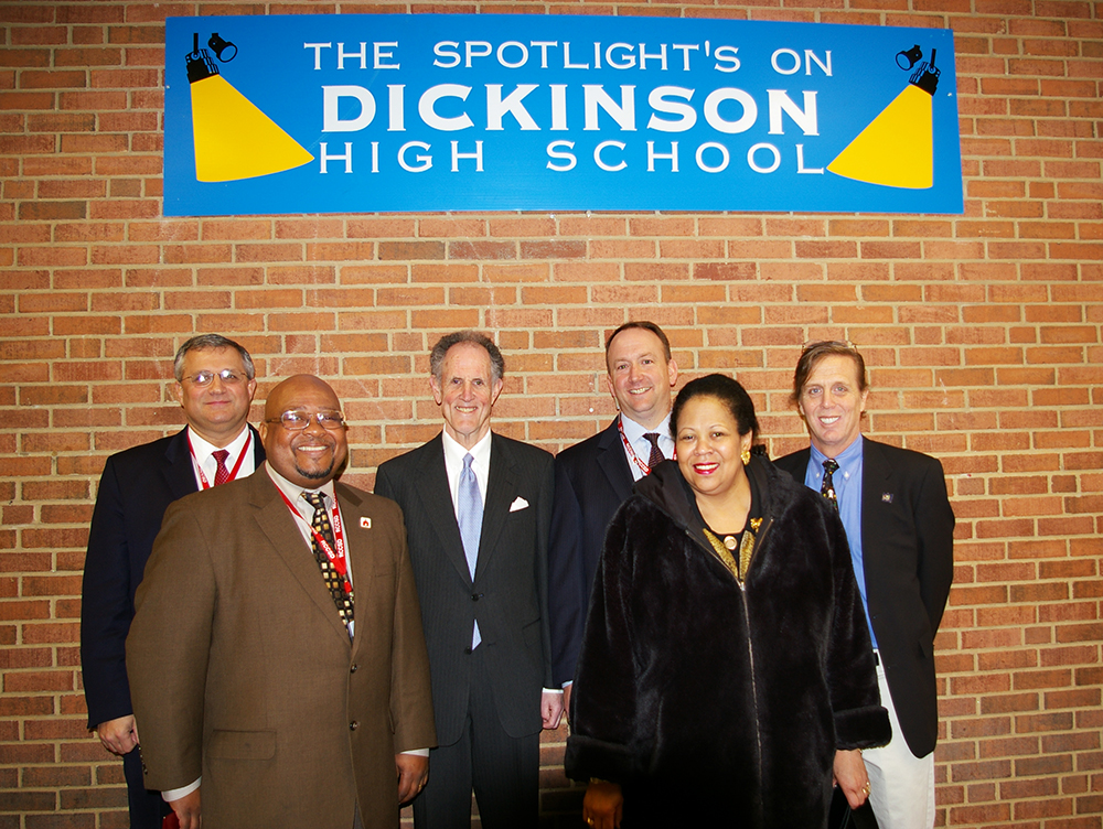 Photograph of Senator Kaufman at John Dickinson High School, 2010 February 18 2