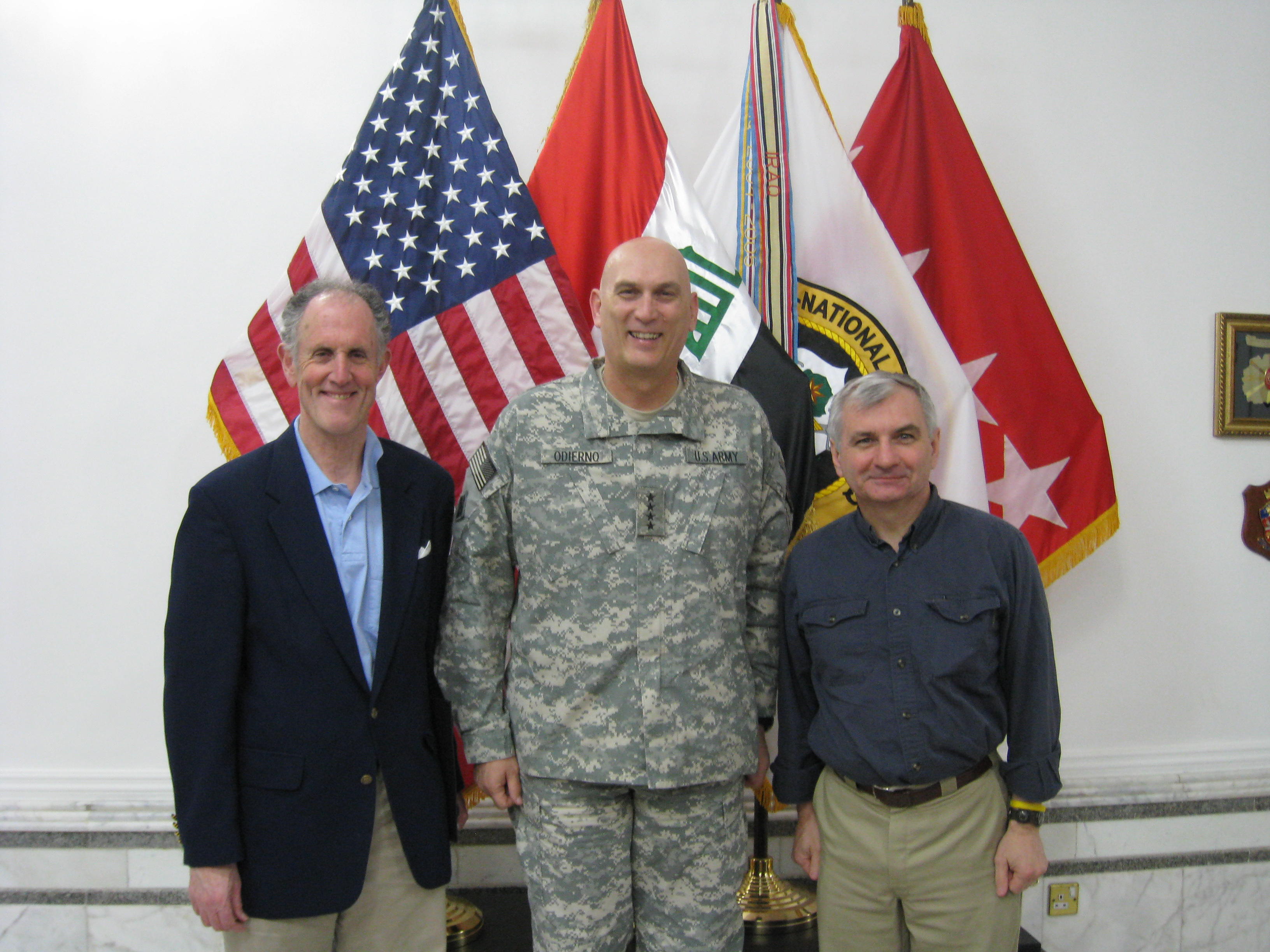 Photograph of Senator Kaufman with Multi-National Forces General Raymond Odierno in Iraq, 2009 April