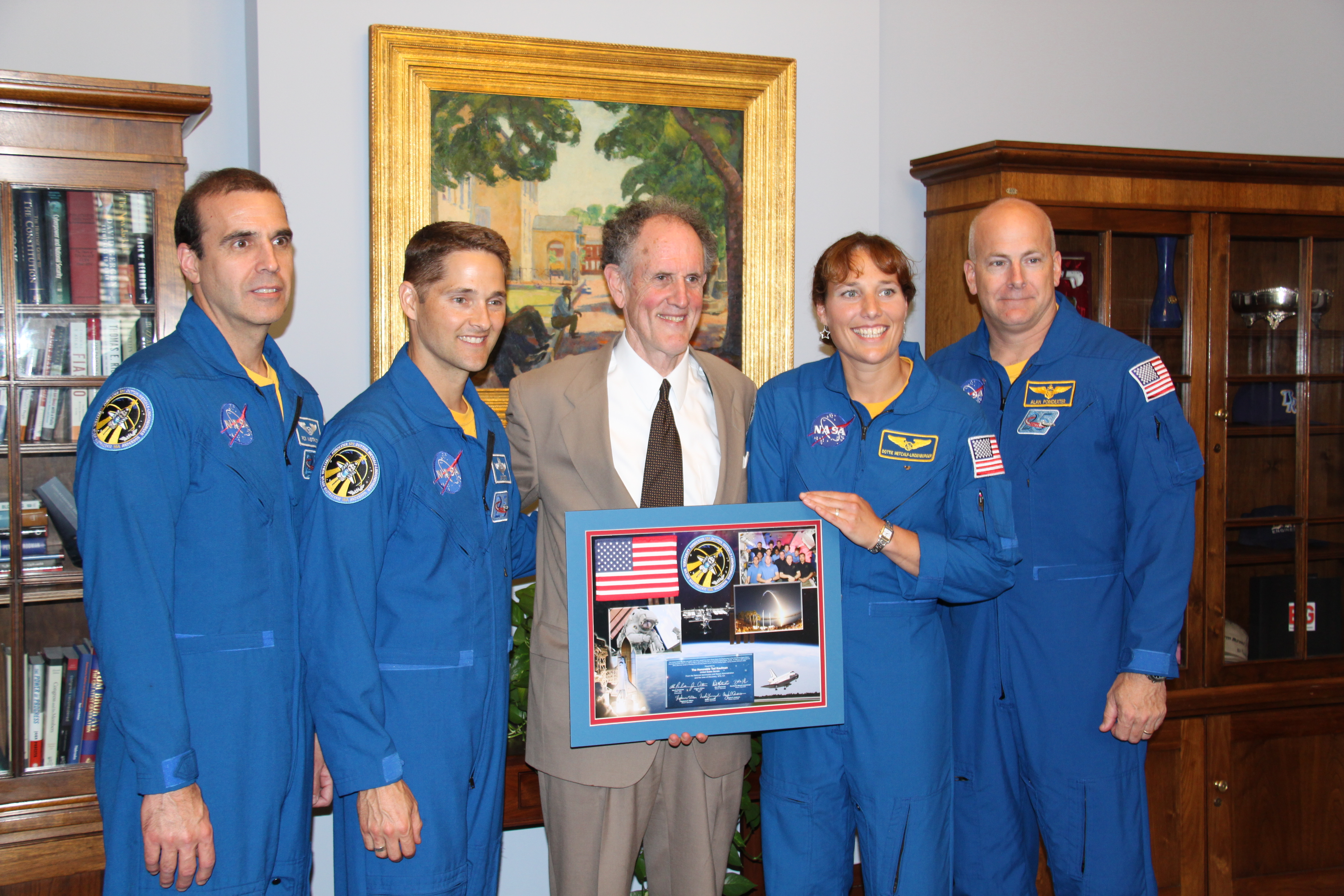 Photograph of Senator Kaufman with STS-131 Experiment Express astronauts, 2010 May 26