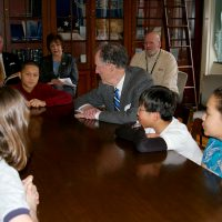 Thumbnail: Photograph of Senator Ted Kaufman with students at P.S. duPont Middle School, 2010 March 1 2