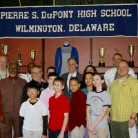 Thumbnail: Photograph of Senator Ted Kaufman with students at P.S. duPont Middle School, 2010 March 1