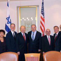 Thumbnail: Photograph of members of the U.S. Congress with Israeli Prime Minister Benjamin Netanyahu at the Saban Forum, 2009 November