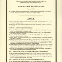 Thumbnail: To require the Securities and Exchange Commission to reinstate the uptick rule and effectively regulate abusive short selling activities, S. 605, 111th Congress, 2009 March 16