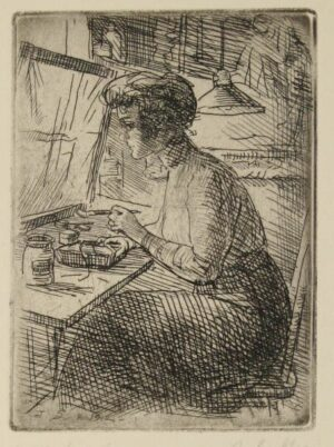 John Sloan (American, 1871-1951), Woman with Etching Tray, 1912, etching. Museums Collections, Gift of Mrs. John Sloan