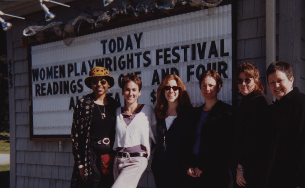 Photograph of Theresa Rebeck and others at Hedgebrook Women Playwrights Festival in Washington, 2001