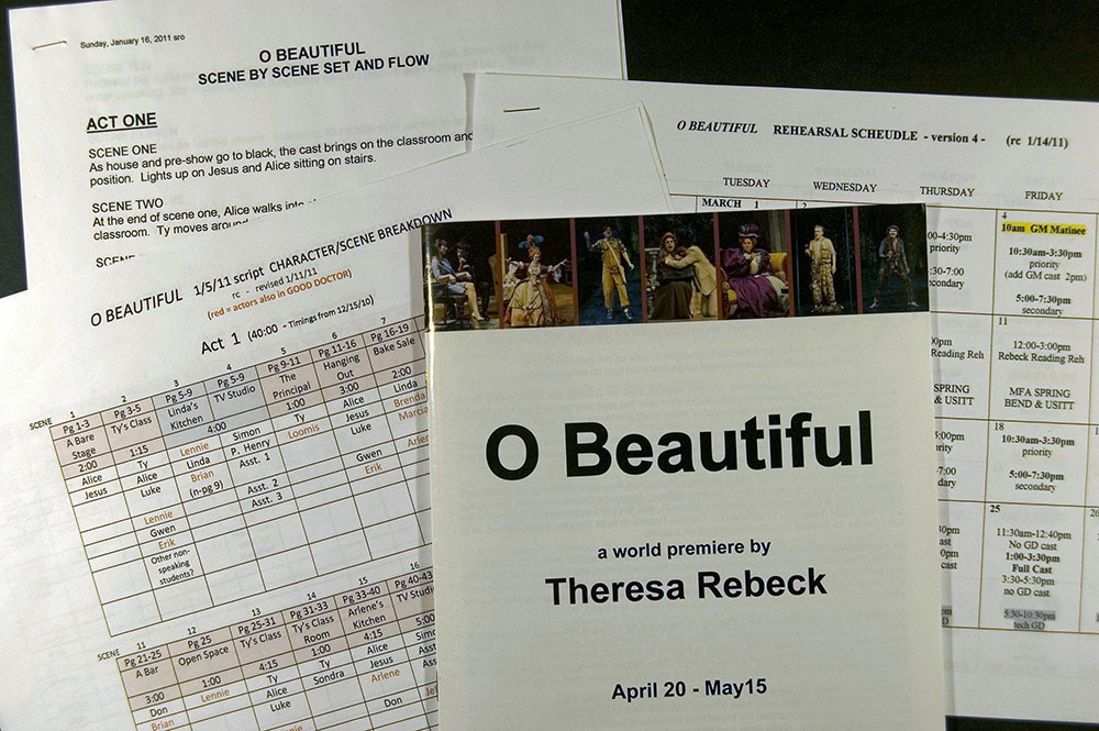 Technical notes and program for world premiere of O Beautiful by the Resident Ensemble Players at the University of Delaware, 2011