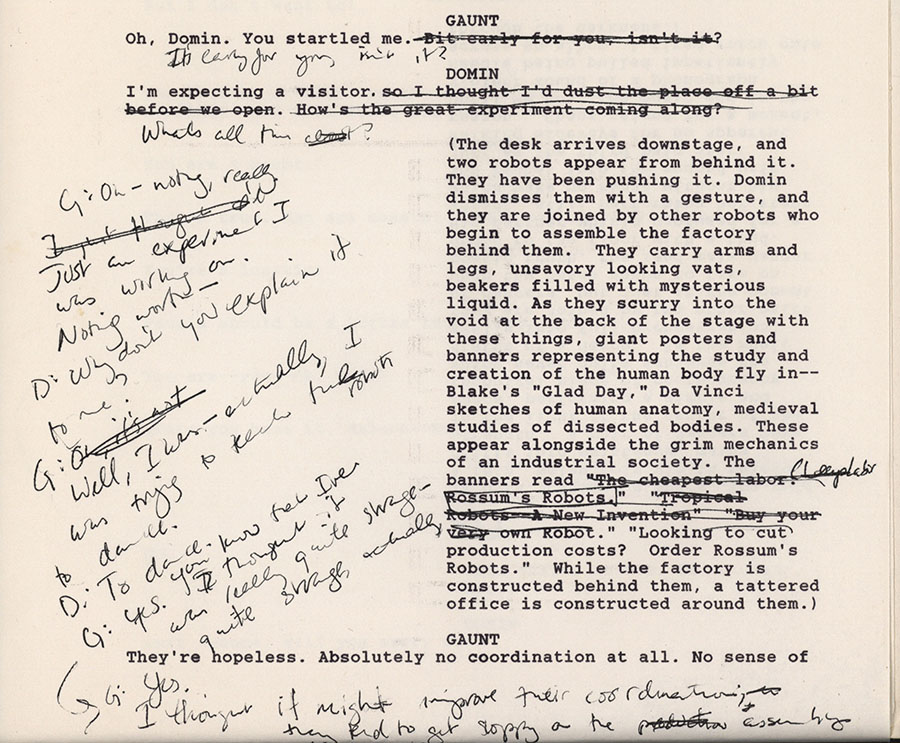 Rebeck, Theresa, Theresa Rebeck's holograph revisions on her typescript adaptation of R.U.R. (Rossum's Universal Robots) by Karel Čapek, circa 1988
