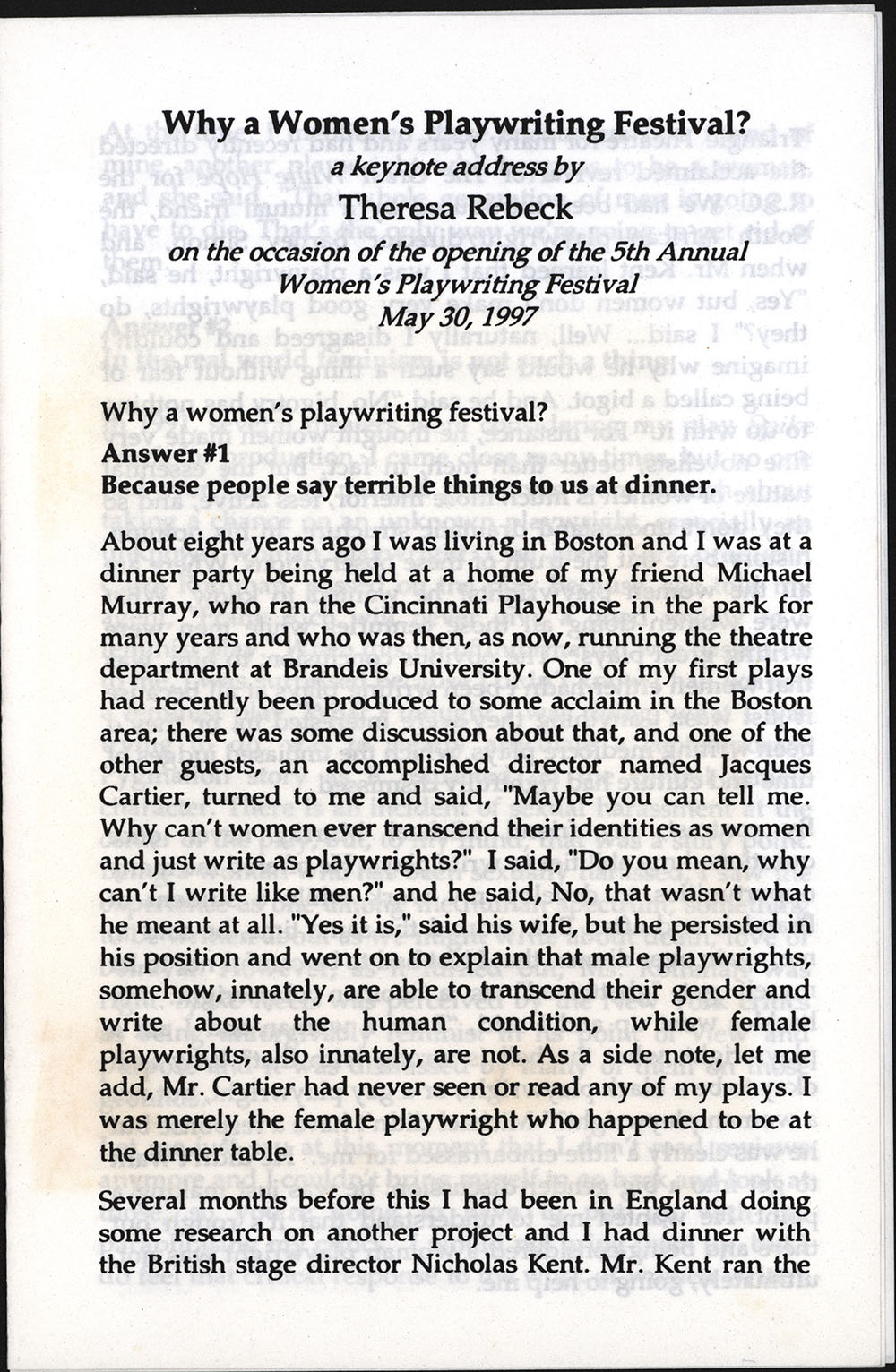"""""""Why a Women's Playwriting Festival?"""" (speech), (Providence, Rhode Island): 5th Annual Women's Playwriting Festival, May 30, 1997"""