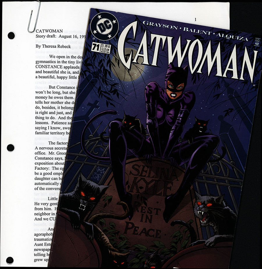 Story draft by Theresa Rebeck for the film Catwoman with DC Comix issue 71 Catwoman, August 1999