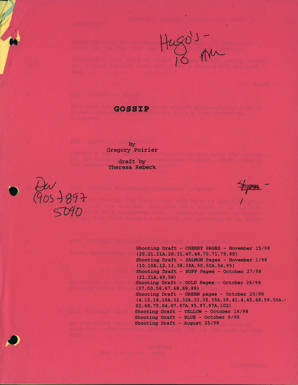 Shooting draft for Gossip (draft by Theresa Rebeck), August-November, 1998