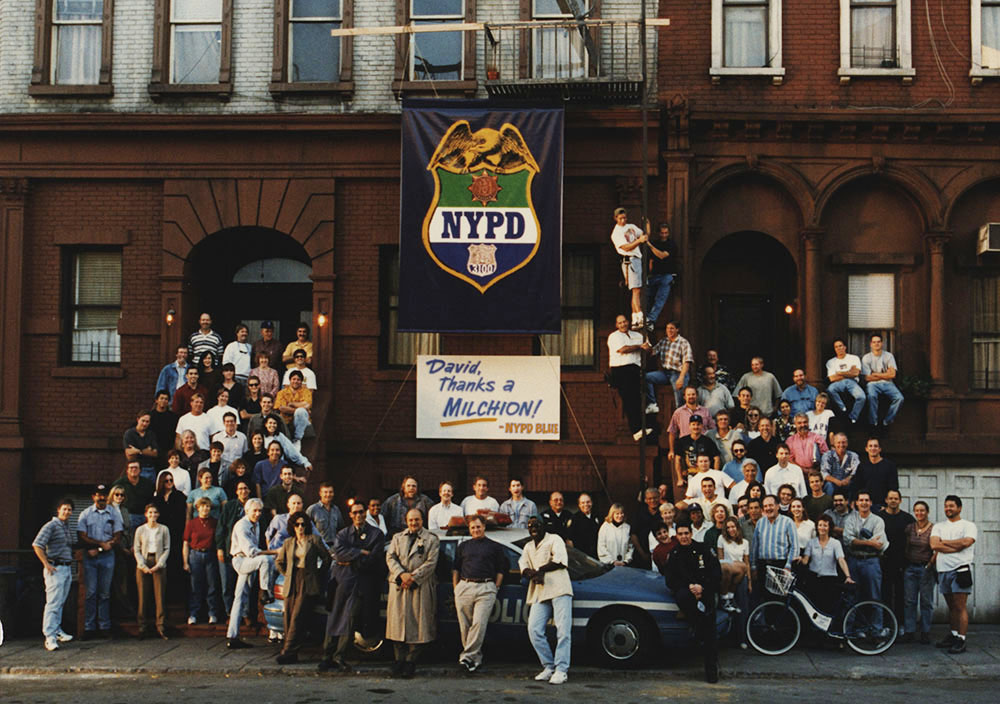 Photograph of cast and crew of NYPD Blue, circa 1995-1997