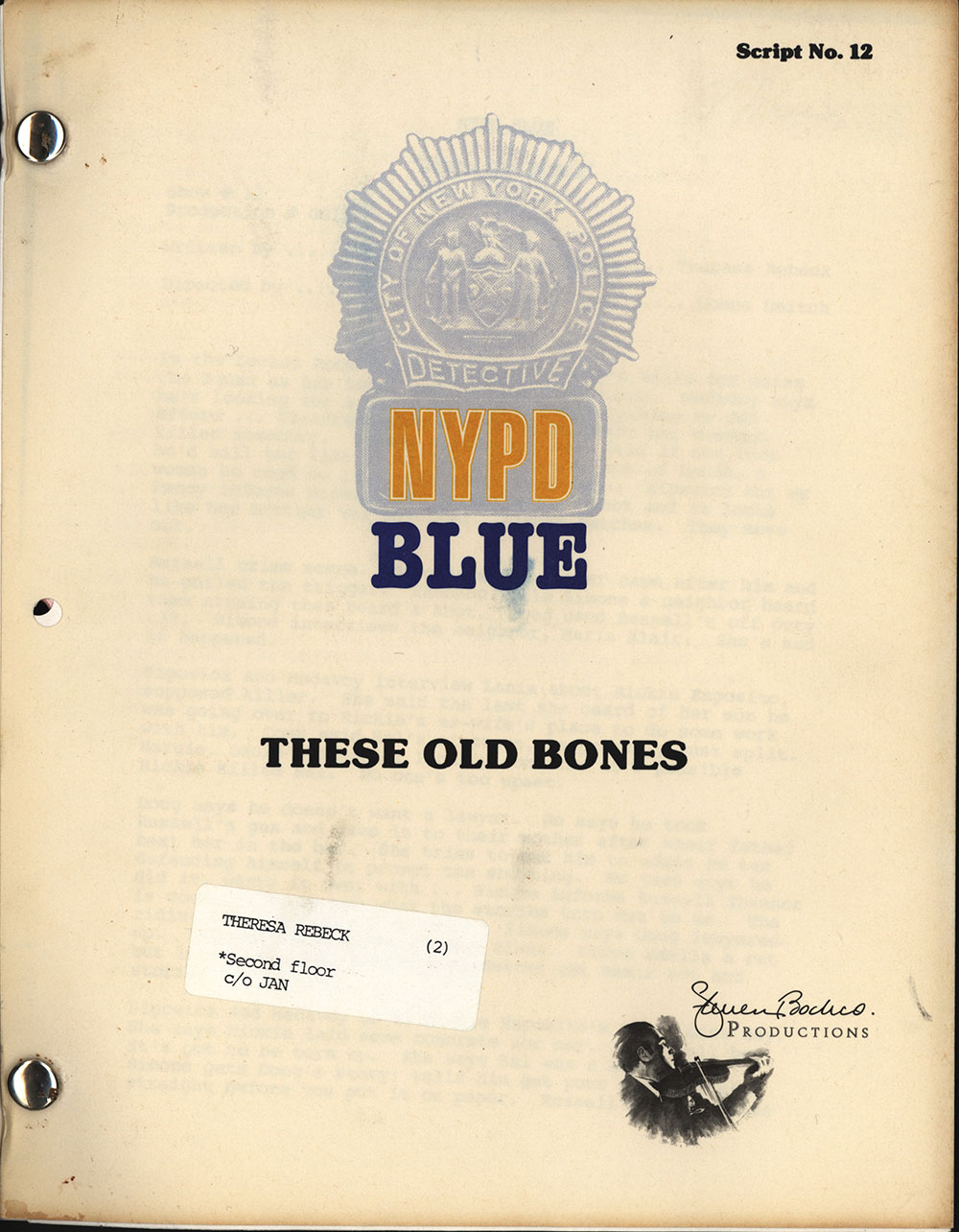 """Television script for """"These Old Bones,"""" an episode of NYPD Blue, 1995"""
