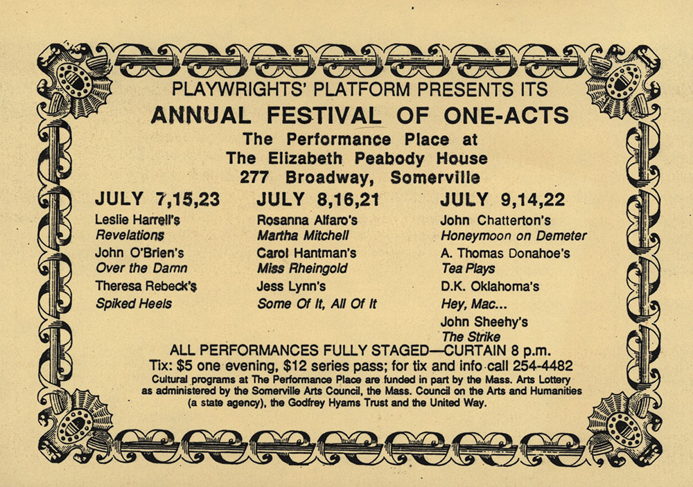 Playwrights' Platform presents its annual festival of one-acts (promotional card), July 1992?