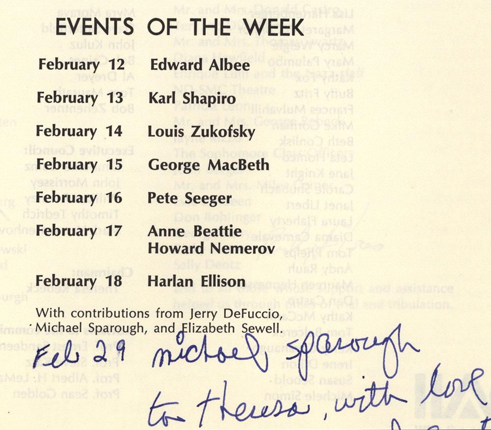 Sophomore Literary Festival program, 1978