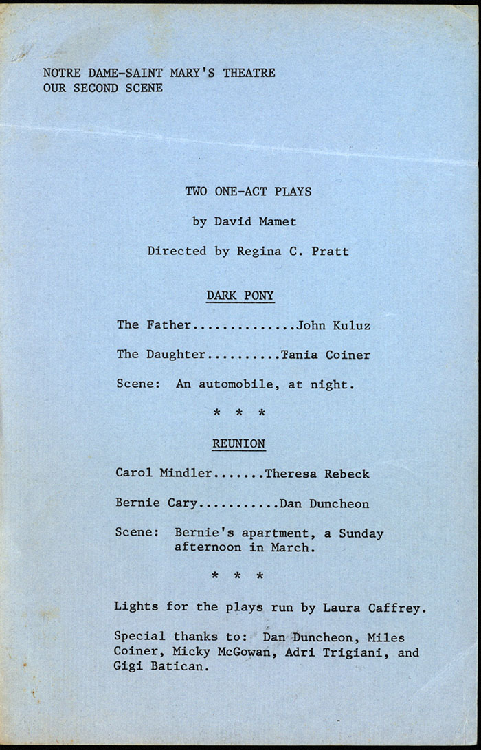 Two One-act Plays by David Mamet (program for Notre Dame-Saint Mary's College Theatre-Our Second Scene)