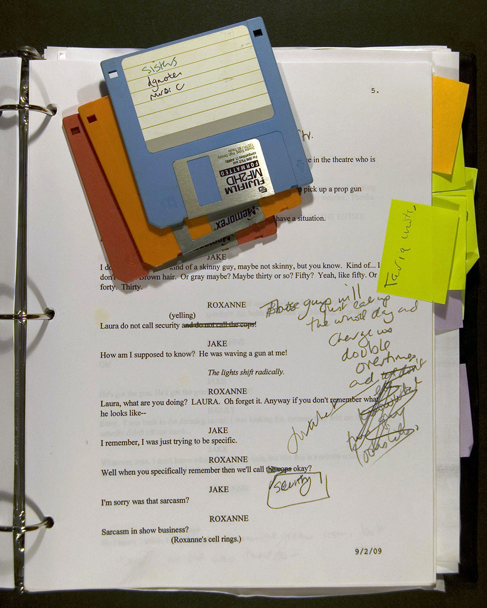 Play script with autograph revisions and computer disks for The Understudy, September 2009