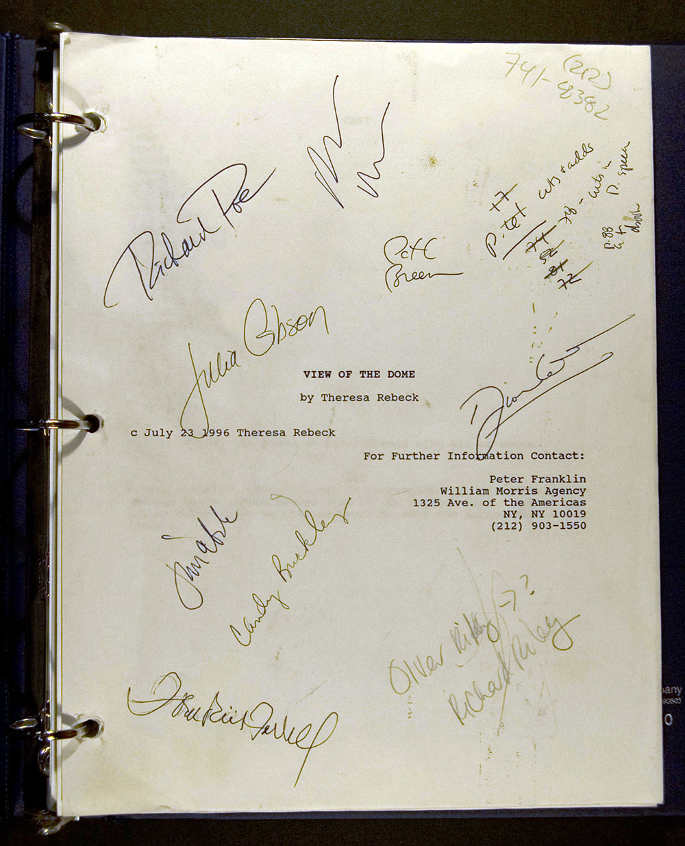 View of the Dome (play script with autograph revisions and cast member autographs), 1996 Subject: theater, authors, dramatists