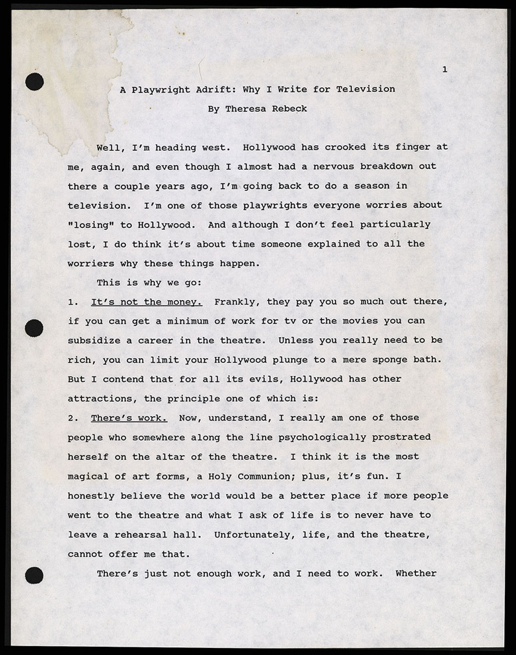"""Typescript draft of """"A Playwright Adrift: Why I Write for Television,"""" 1995"""