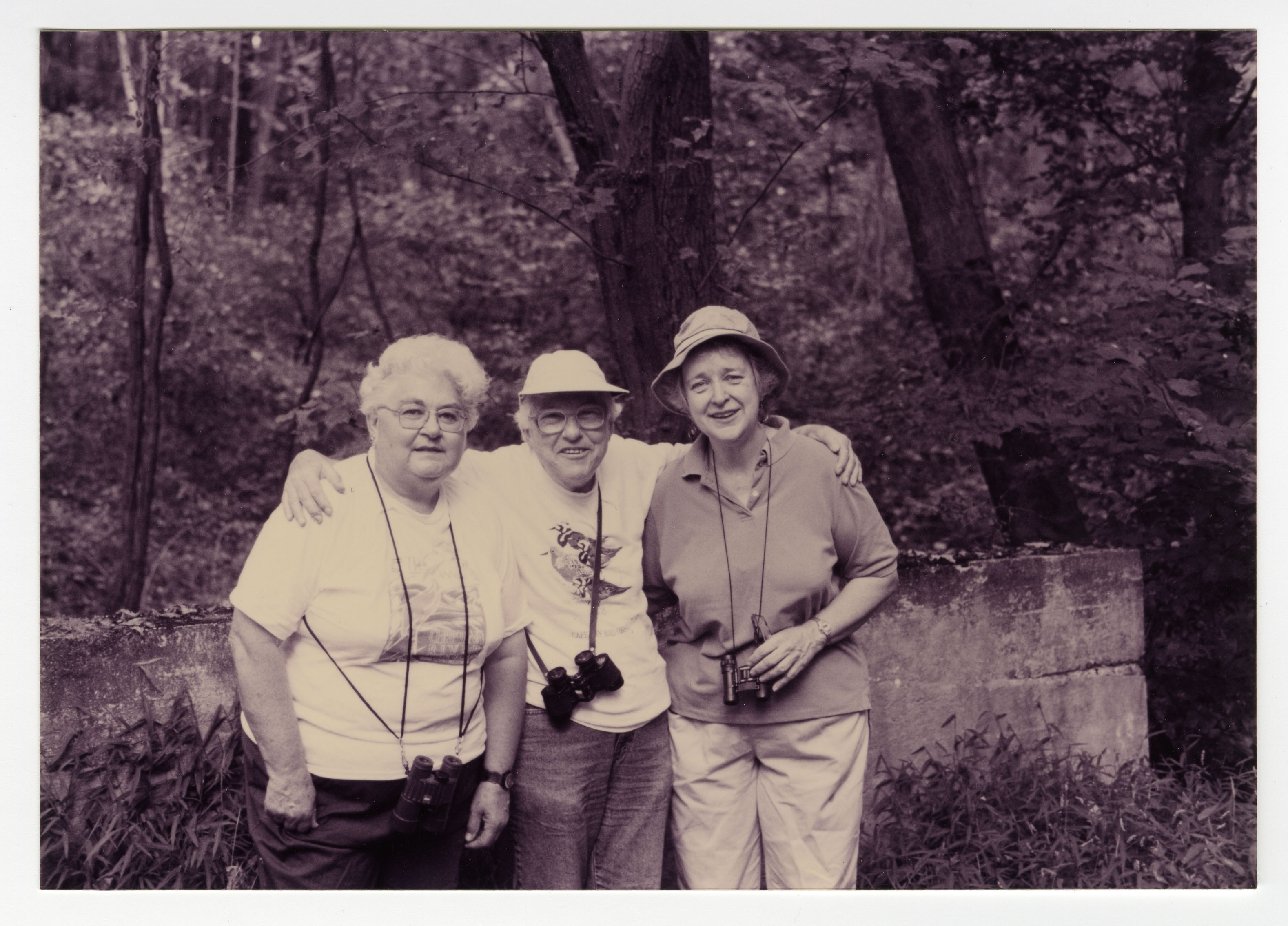 Photograph of Dorothy P. Miller with two bird-watching friends.