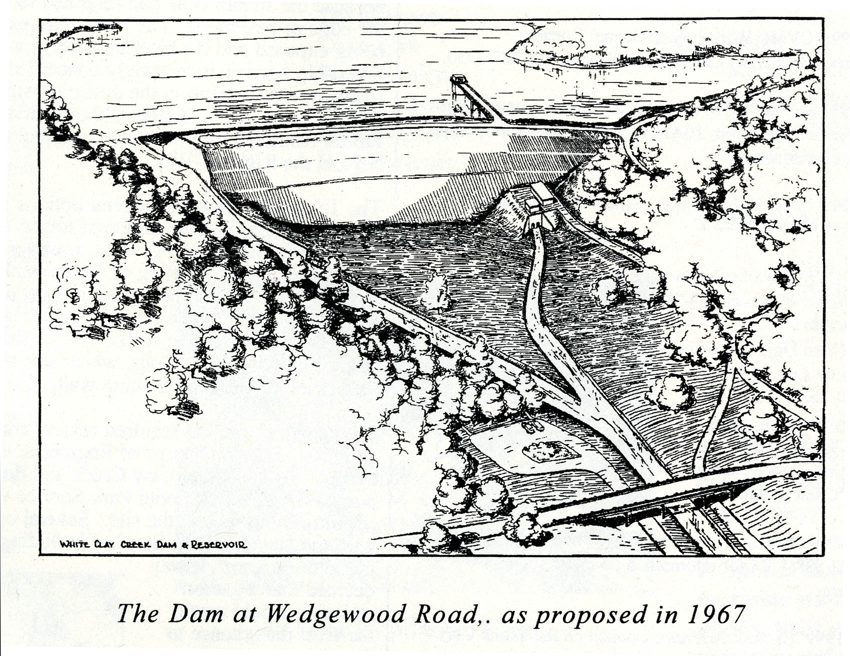 The Dam at Wedgewood Road as proposed in 1967 (Illustration)