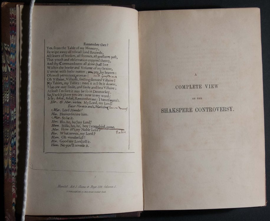 A complete view of the Shakspere controversy, concerning the authenticity and genuineness of manuscript matter affecting the works and biography of Shakspere