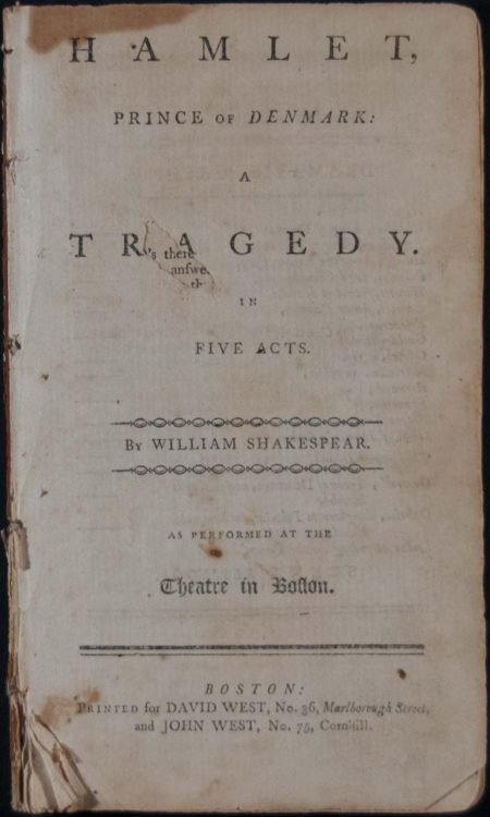Hamlet, Prince of Denmark: a tragedy in five acts