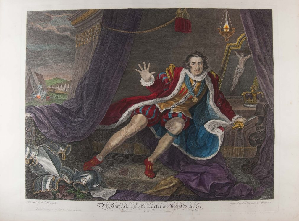 Mr. Garrick in the Character of Richard the 3d. -William Hogarth engravings