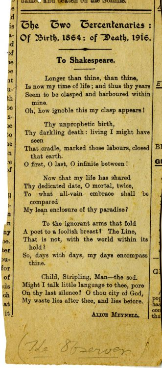 The Two Tercentenaries: Of Birth, 1864; of Death, 1916.