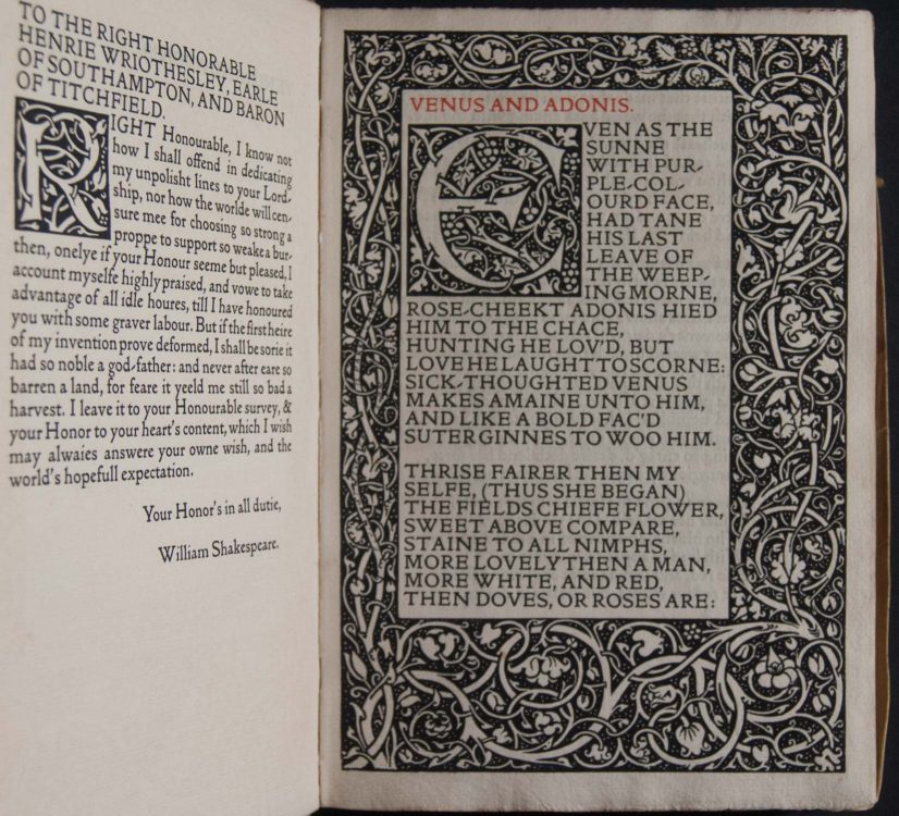 The poems of William Shakespeare: printed after the original copies of Venus and Adonis, 1593, The rape of Lucrece, 1594, Sonnets, 1609, The lover's complaint